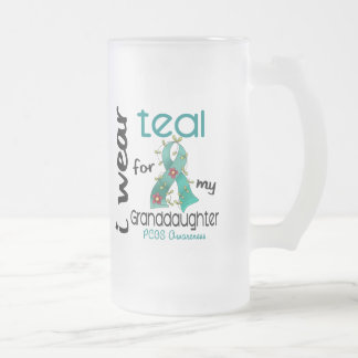 PCOS I Wear Teal For My Granddaughter 43 Frosted Glass Mug
