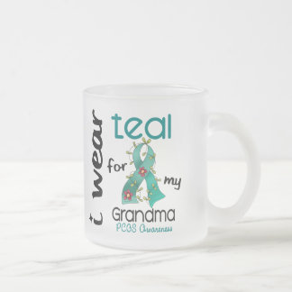 PCOS I Wear Teal For My Grandma 43 Frosted Glass Mug