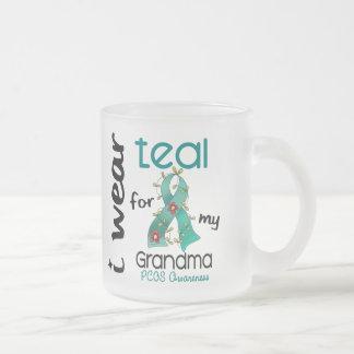 PCOS I Wear Teal For My Grandma 43 10 Oz Frosted Glass Coffee Mug