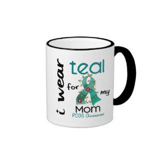 PCOS I Wear Teal For My Mom 43 Ringer Mug