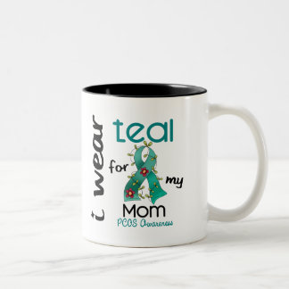 PCOS I Wear Teal For My Mom 43 Two-Tone Mug