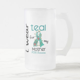 PCOS I Wear Teal For My Mother 43 Frosted Glass Mug
