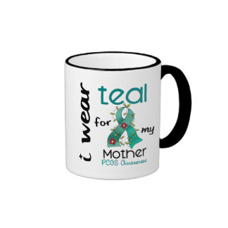 PCOS I Wear Teal For My Mother 43 Ringer Coffee Mug