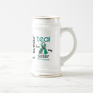 PCOS I Wear Teal For My Sister 43 18 Oz Beer Stein