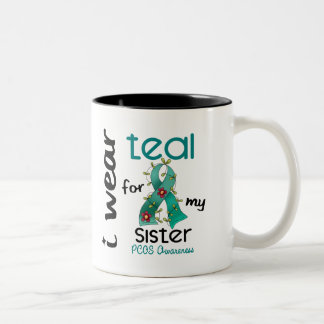 PCOS I Wear Teal For My Sister 43 Two-Tone Mug