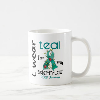 PCOS I Wear Teal For My Sister-In-Law 43 Basic White Mug