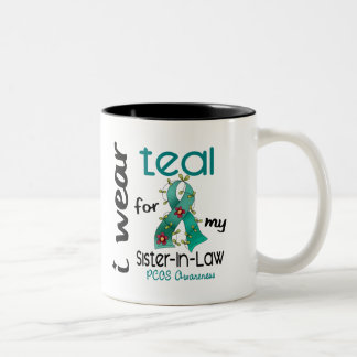 PCOS I Wear Teal For My Sister-In-Law 43 Two-Tone Mug