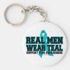 PCOS Real Men Wear Teal Key Ring