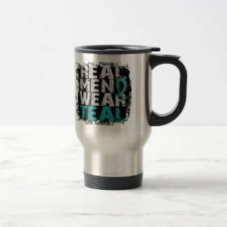 PCOS Real Men Wear Teal Polycystic Ovarian Syndrom Stainless Steel Travel Mug