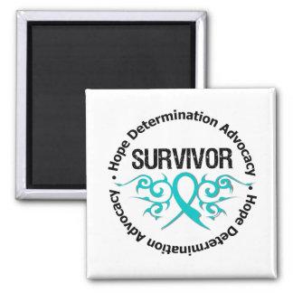 PCOS Survivor Tribal Ribbon Square Magnet