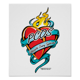 PCOS Tattoo Heart Posters