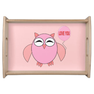PCute Pink Love You Owl Serving Tray