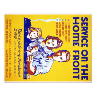 PD0058 Vintage Service on the Homefront WPA Poster Photo Print
