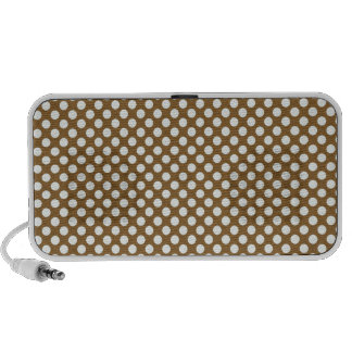 pd23 BROWN WHITE CIRCLES POLKADOTS PATTERN BACKGRO Laptop Speakers