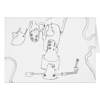 PDD Small Weak Drawings Surreal Geek Greeting card