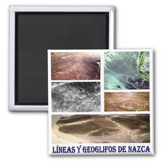 PE - Peru-Nazca Lines and Geoglyphs-I Love Collage Square Magnet