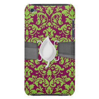 pea green and dark plum damask pattern barely there iPod covers