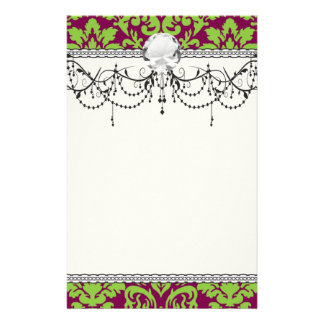 pea green and dark plum damask pattern stationery paper