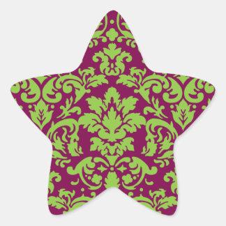 pea green and dark plum damask pattern star sticker