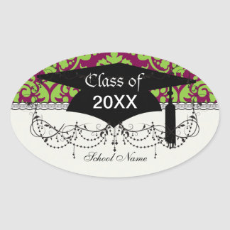 pea green and dark plum damask pattern stickers