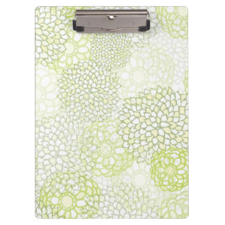 Pea Green and White Flower Burst Design Clipboard