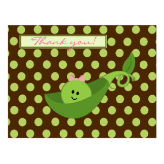 Pea in a Pod Girl Baby Shower Thank You Post Card