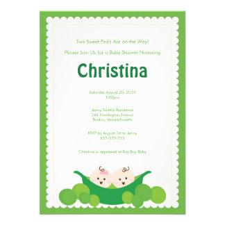 Pea Pod  Boy & Girl Twins Baby Shower Invitation