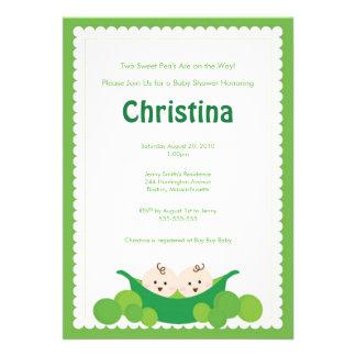 Pea Pod Twins Baby Shower Invitation