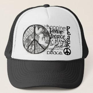 peace-1, peace_4, peace., peace., love., happin... trucker hat