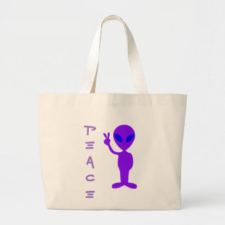 Peace Alien Large Tote Bag