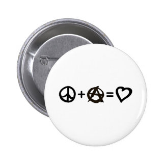 Peace + Anarchy = Love 6 Cm Round Badge