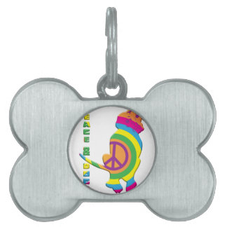 Peace And Dogs Funny Pet ID Tag
