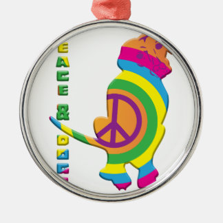 Peace And Dogs Funny Silver-Colored Round Decoration