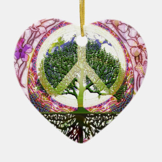 Peace and Flowers Symbol Ceramic Heart Decoration