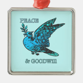 Peace and Goodwill Square Metal Christmas Ornament