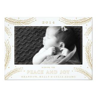 Peace and Joy Gold Feathers Christmas Holiday Card 13 Cm X 18 Cm Invitation Card