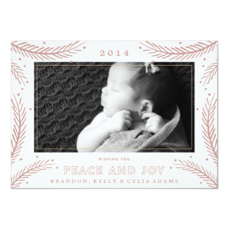 "Peace and Joy Gold Feathers Christmas Holiday Card 5"" X 7"" Invitation Card"