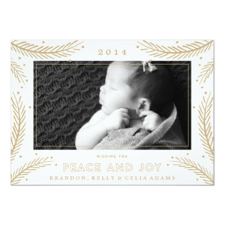 Peace and Joy Gold Feathers Christmas Holiday Card Custom Invites