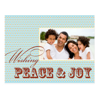 Peace and Joy Holiday Photo Postcard