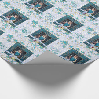 Peace and Joy in Blue with Your Photo Wrapping Paper