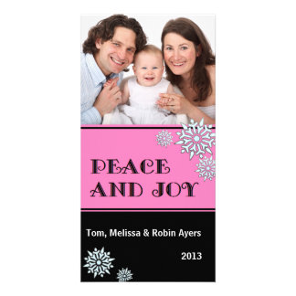 Peace and Joy - Pink Black White Snowflakes Photo Card Template
