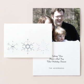 Peace And Joy Silver Snowflake Rustic Add Photo Foil Card