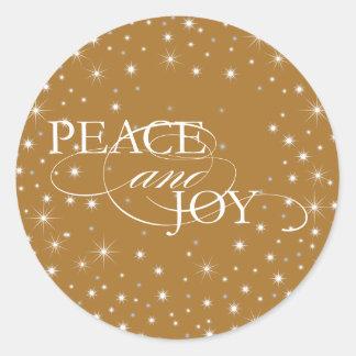 Peace and Joy - Stars - Sticker, Seal Round Sticker