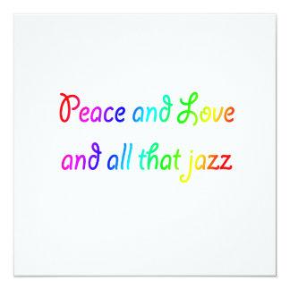 Peace and Love and All That Jazz Rainbow Invitatio 13 Cm X 13 Cm Square Invitation Card