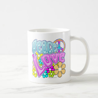 Peace And Love Basic White Mug