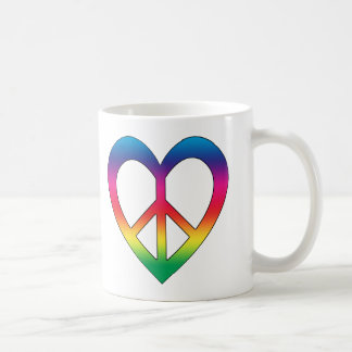 Peace and Love Basic White Mug
