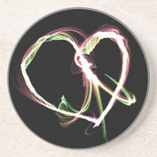 Peace and Love black Beverage Coasters
