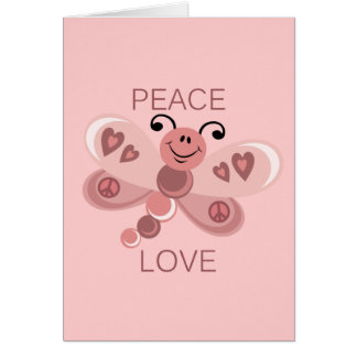 PEACE AND LOVE DRAGONFLY GREETING CARD