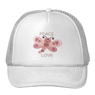 PEACE AND LOVE DRAGONFLY TRUCKER HATS