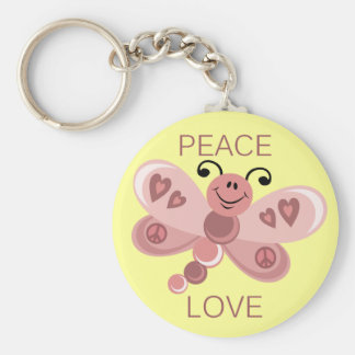 PEACE AND LOVE DRAGONFLY BASIC ROUND BUTTON KEY RING